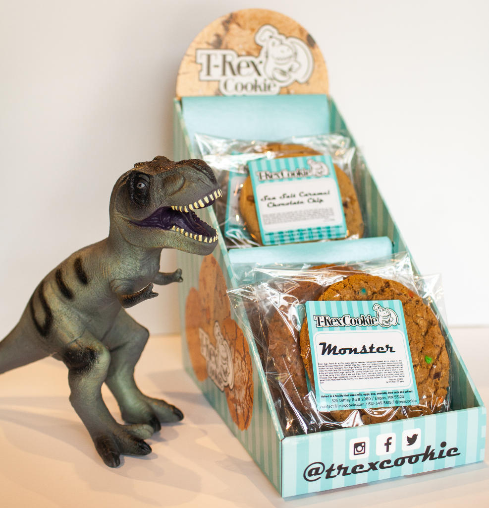 T-Rex Cookie display for 1/2 pount and 8 oz cookies