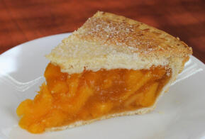 Slice of Peach Pie, 9 Inch, Gregory''s Foods, Eagan Minnesota